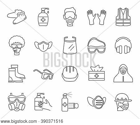 Ppe Line Icons. Protection Equipments, Medical Face Masks And Goggles, Doctor Gown, Gloves And Shiel