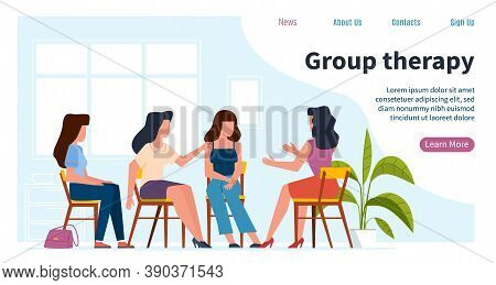 Women Therapy. Psychologist Consulting Females Group With Psychology Mental Problems. Depression, Bu