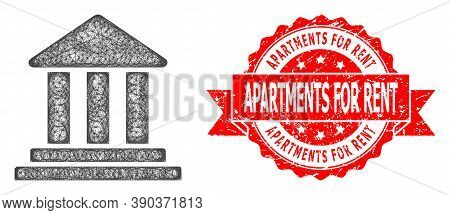 Wire Frame Bank Building Icon, And Apartments For Rent Textured Ribbon Stamp Seal. Red Stamp Seal In