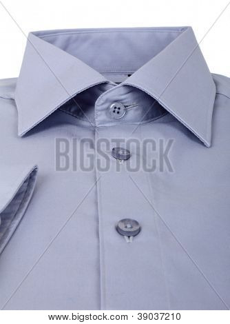 A new grey man's shirt isolated over a white background