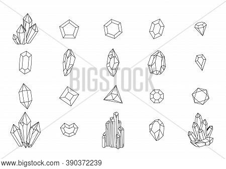 Set Of Geometric Crystals. Black And White Line Crystals And Hand Drawn Stones, Jewelry Gems, Luxury