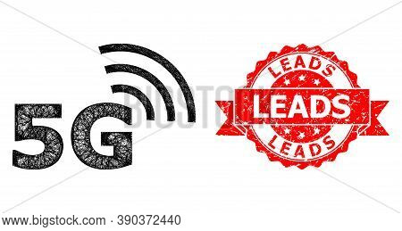 Net 5g Symbol Icon, And Leads Unclean Ribbon Stamp. Red Stamp Contains Leads Title Inside Ribbon.geo