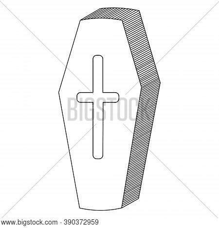 Coffin. Sketch. Vampire Sarcophagus. Cross-shaped Emblem On The Lid. Vector Illustration. Decoration