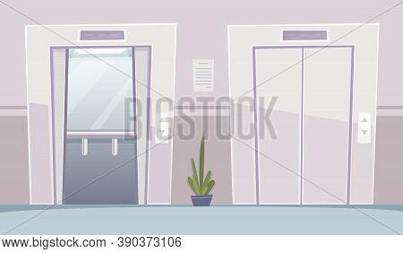 Business Hall Elevator. Office Building With Opened An Closed Doors Elevators Vestibule Interior Vec