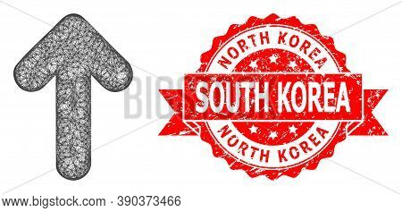 Wire Frame Arrow Up Icon, And North Korea South Korea Rubber Ribbon Seal Print. Red Stamp Seal Conta