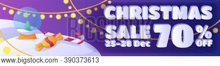 Horizontal Banner Template Design. Christmas Sales Discounts Up To 70 Percent. Purple Bright Cartoon