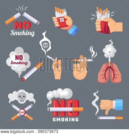 Smoke Icon. Lungs And Cigarette Inhalation Smoke Problem And Dangerous Vector Flat Concept Pictures.
