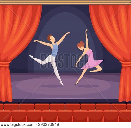 Ballet Stage. Dancer Male And Female Dancing On Stage Vector Beautiful Background With Red Curtains