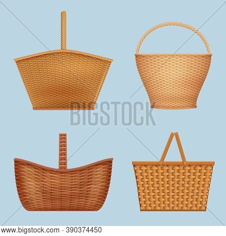 Picnic Basket. Handmade Decorative Containers For Nature Food Vector Empty Wooden Basket Vector Real