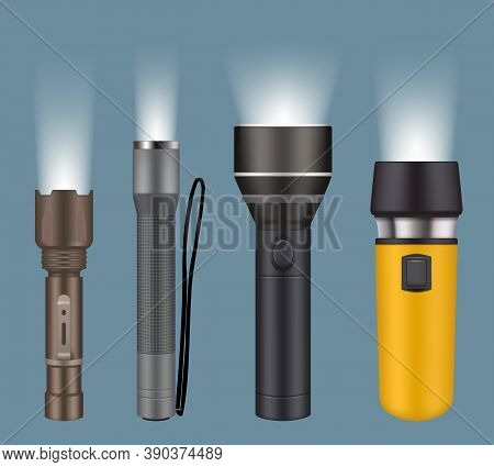 Flashlights. Electric Handy Flashlights For Camping Night Searching Lamp Vector Realistic Collection
