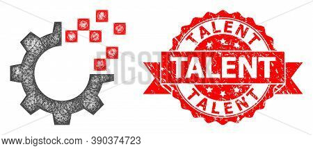 Wire Frame Auto Gear Repair Icon, And Talent Unclean Ribbon Watermark. Red Stamp Contains Talent Cap