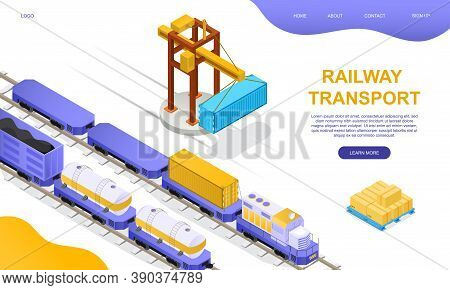 Freight Rail Transport Concept. Freight Wagons, Cisterns And Containers Stand On Loading Or Unloadin