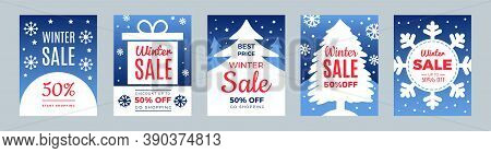 New Year Sale. Season Discount, Winter Best Price Flyers Set. Christmas Promo Cards Vector Template.