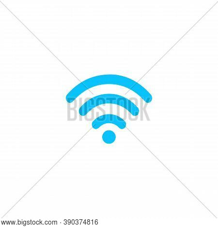 Wi-fi Icon Flat. Blue Pictogram On White Background. Vector Illustration Symbol