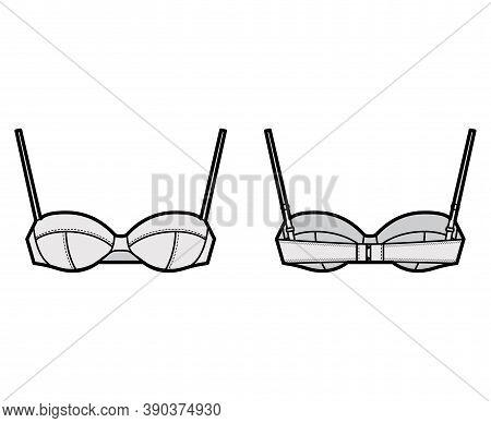 Balconette Bra Lingerie Technical Fashion Illustration With Full Adjustable Shoulder Straps, Hook-an