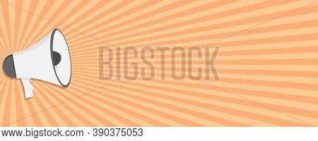 Megaphone Icon On Sunburst Background. Loudspeaker Sign In Flat Design. Isolated Announce Poster Tem