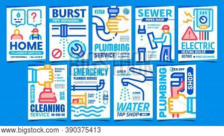 Plumber Service Creative Promo Posters Set Vector. Sewer Pipe, Plumbing And Water Tap Shop, Cleaning