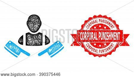 Wire Frame Butcher Man Icon, And Corporal Punishment Scratched Ribbon Seal Imitation. Red Stamp Seal