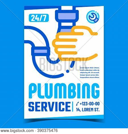 Plumbing Service Creative Promo Banner Vector. Mechanic Hand Holding Bath Or Sink Drain Pipe And Wre