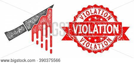 Network Bloody Knife Icon, And Violation Rubber Ribbon Seal Imitation. Red Stamp Seal Contains Viola