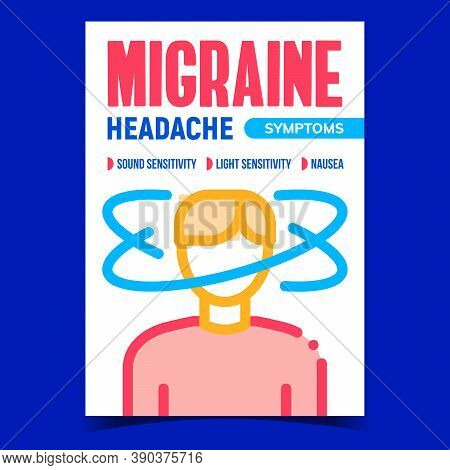 Migraine Headache Symptoms Promo Banner Vector. Illness Human With Nausea, Sound And Light Sensitivi
