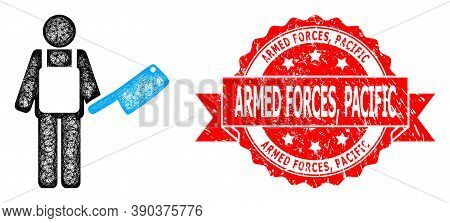 Network Butcher Icon, And Armed Forces, Pacific Corroded Ribbon Stamp Seal. Red Stamp Seal Contains