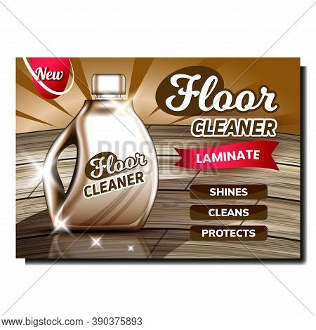 Laminate Floor Cleaner Promotional Banner Vector. Cleaner Blank Container Advertising Marketing Post