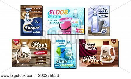 Floor Cleaner Creative Promo Posters Set Vector. Parquet And Laminate Material Floor Blank Packages