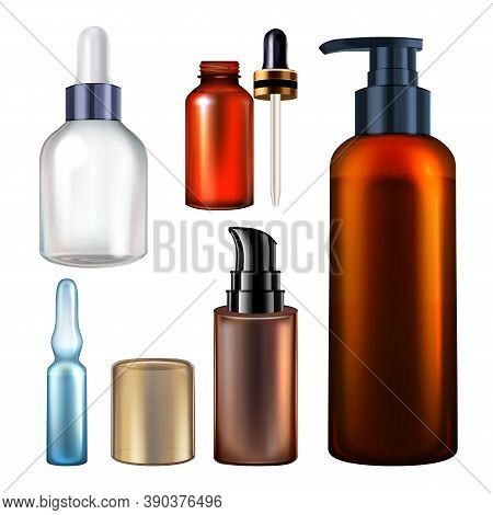 Serum Blank Packages Bottles Collection Set Vector. Different Glass And Plastic Bottles And Ampule W