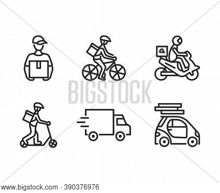 Food Delivery Service Flat Line Icon Set. Vector Illustration Couriers On Different Transport, Motor
