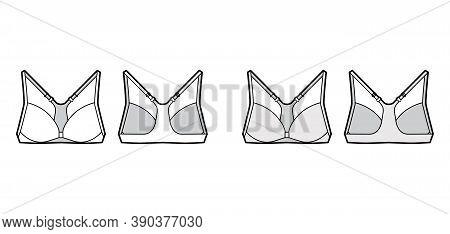 Bra Racerback Front Closure Lingerie Technical Fashion Illustration With Adjustable Shoulder Straps.