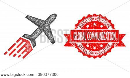 Network Air Liner Icon, And Global Communication Dirty Ribbon Stamp Seal. Red Stamp Contains Global