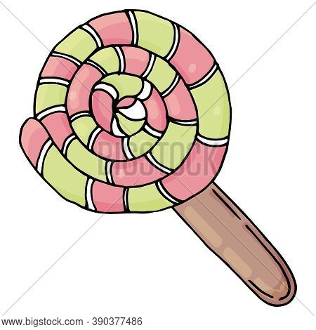 Round Shape Sweet Lollipop In Red And Green Color, Kawaii Sweets, Vector, Cute Drawing For Kids