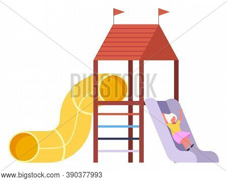 Game Sports Equipment. Children Playground. Yellow Pipe, Slide, Red Roof With Flags, Ladder. Amuseme