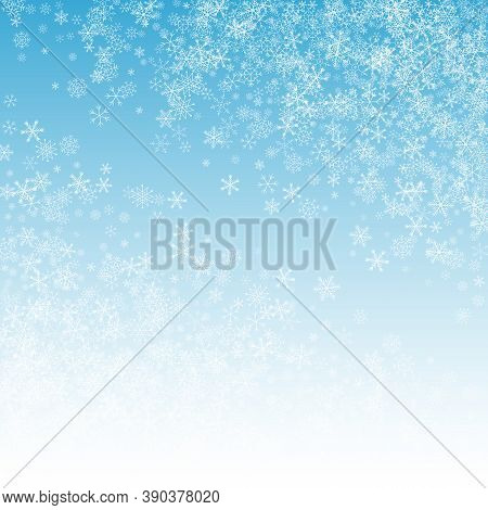 White Snow Vector Blue Background. Light Snowfall Holiday. Silver Falling Transparent. Magic Snowfla