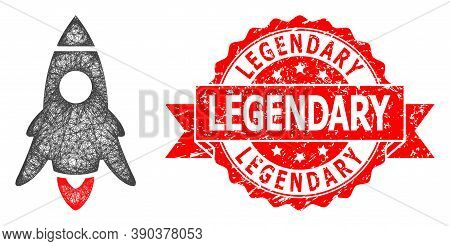 Network Rocket Start Icon, And Legendary Corroded Ribbon Stamp. Red Stamp Includes Legendary Title I