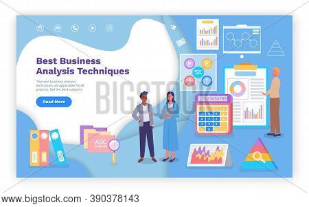 Landing Page Of Best Business Analysis Techniques. Images Of Calculator, Colorful Charts, Folders, M
