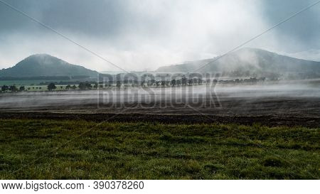 Ceske Stredohori Hichlands In Autumn Morning Fog