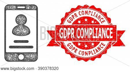 Network Smartphone User Info Icon, And Gdpr Compliance Unclean Ribbon Stamp Seal. Red Stamp Seal Inc