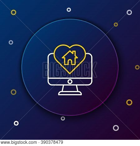 Line Computer Monitor With House In Heart Shape Icon Isolated On Blue Background. Love Home Symbol.