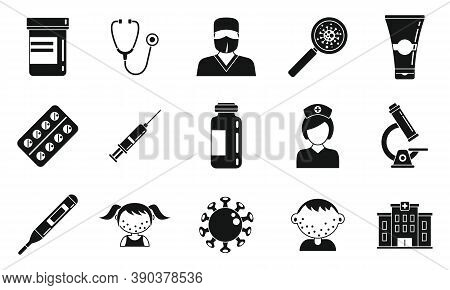Body Chicken Pox Icons Set. Simple Set Of Body Chicken Pox Vector Icons For Web Design On White Back