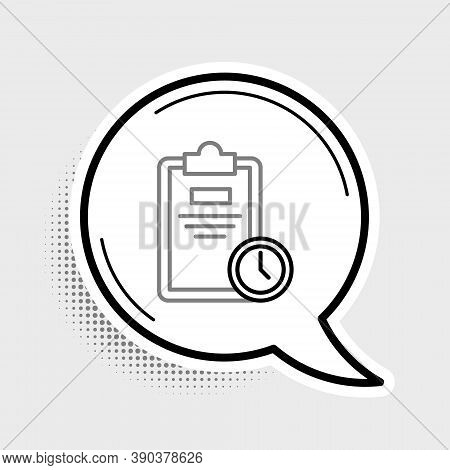 Line Exam Sheet With Clock Icon Isolated On Grey Background. Test Paper, Exam, Or Survey Concept. Sc
