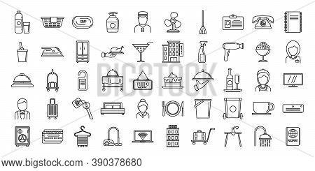 Tourism Room Service Icons Set. Outline Set Of Tourism Room Service Vector Icons For Web Design Isol