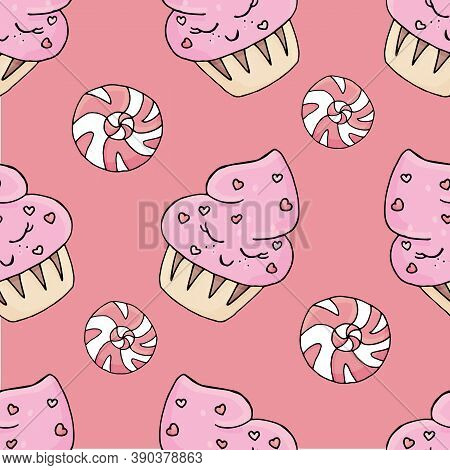 Cute Candy And Cupcakes With Eyes, Frosting And Sprinkling Of Pink Flowers On A Pink Background, Cut