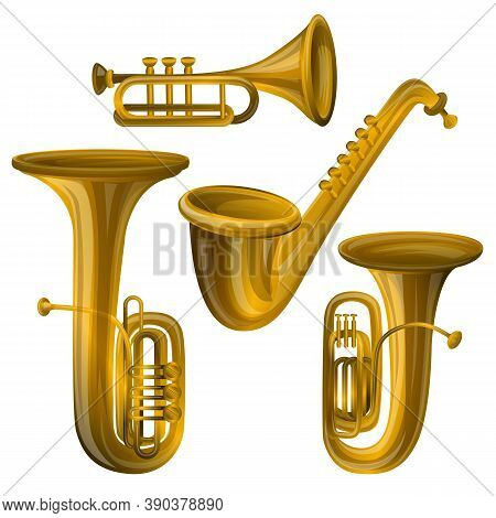 Trumpet Icons Set. Cartoon Set Of Trumpet Vector Icons For Web Design