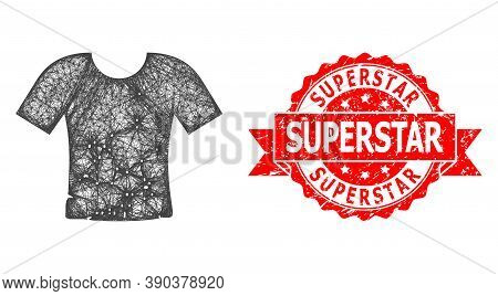 Network Dirty T-shirt Icon, And Superstar Corroded Ribbon Stamp Seal. Red Stamp Seal Contains Supers