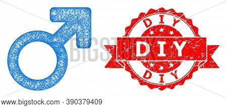 Wire Frame Male Symbol Icon, And D I Y Dirty Ribbon Stamp Seal. Red Stamp Seal Contains D I Y Text I