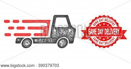 Wire Frame Delivery Car Chassi Icon, And Same Day Delivery Dirty Ribbon Seal. Red Stamp Seal Has Sam