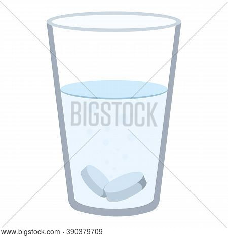 Glass With Aspirin Icon. Cartoon Of Glass With Aspirin Vector Icon For Web Design Isolated On White
