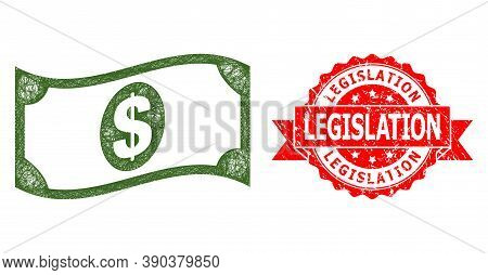 Wire Frame Waving Dollar Banknote Icon, And Legislation Corroded Ribbon Stamp Seal. Red Seal Contain